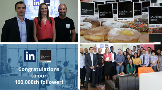 Montage of Mackenzie Jones celebrating the 100,000th Linkedin follower